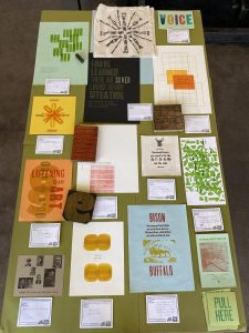 Examples of letterpress prints created at the Press