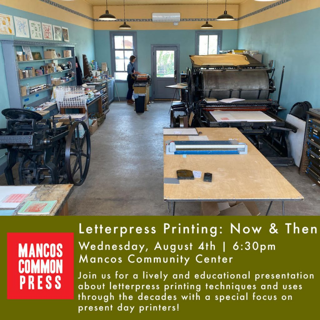 Letterpress Printing Now and Then Information by Mancos Common Press